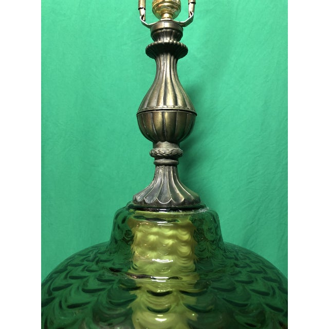 Vintage Hollywood Regency Green Glass Lamp For Sale - Image 4 of 7