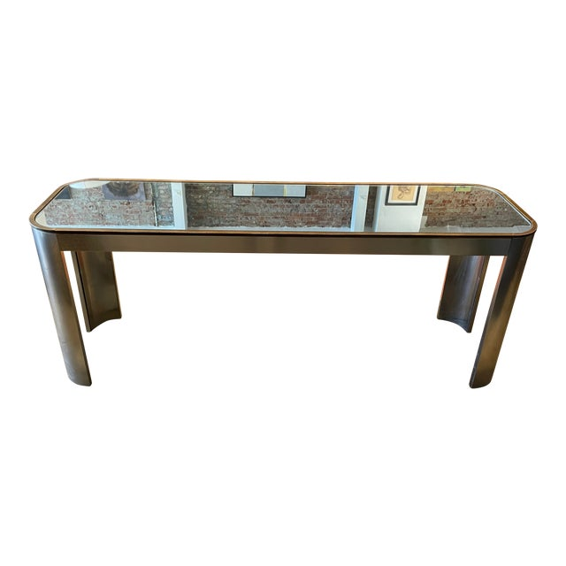 1970s Chrome and Mirror Console Table For Sale