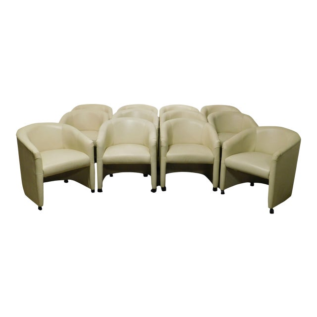 Vintage Set 12 Postmodern Off White Leather Barrel Back Chairs For Sale