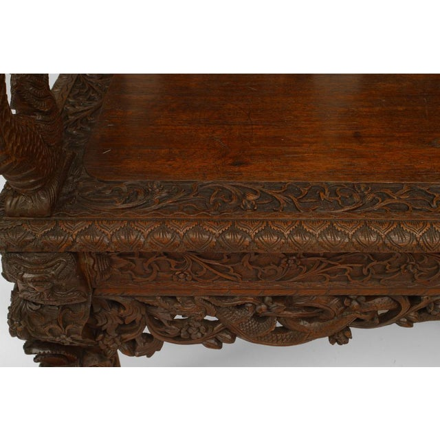 Asian Burmese Style Carved Teak Triple Filigree Back Loveseat For Sale - Image 4 of 5