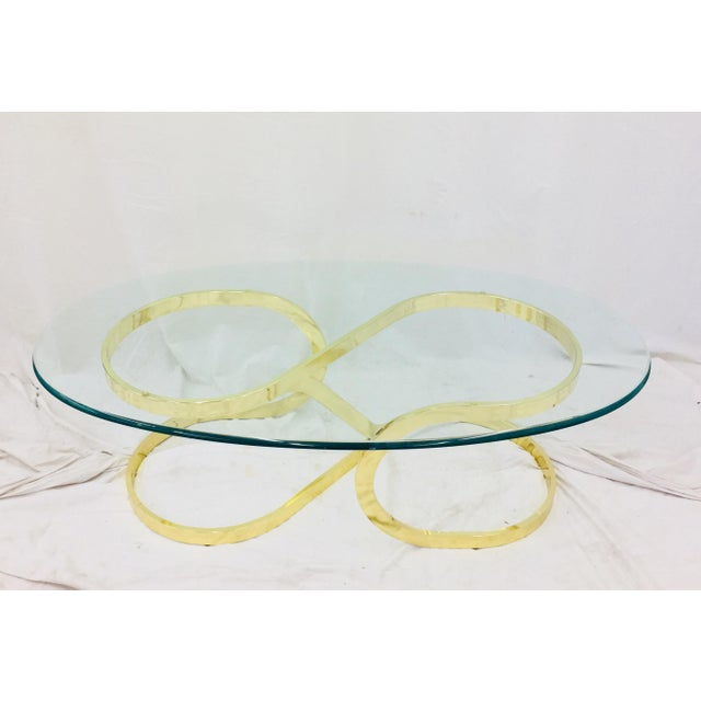 Stunning Vintage Mid Century Modern Hollywood Regency / Glam Chic Style Lacquered Brass & Glass Coffee Table. Fabulous...