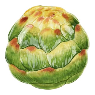 Green Ceramic Decorative Artichoke Plate by Fitz and Floyd For Sale