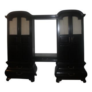 Black Art Deco Armoires With Shelf and Light in Between - a Pair