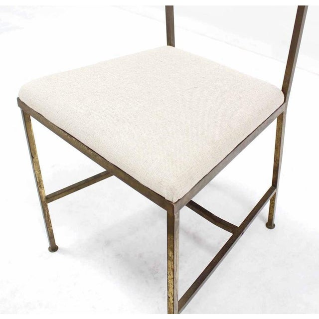 Gold Set of Six Rare Brass Dining Side Chairs in Style of Jean Royère For Sale - Image 8 of 8