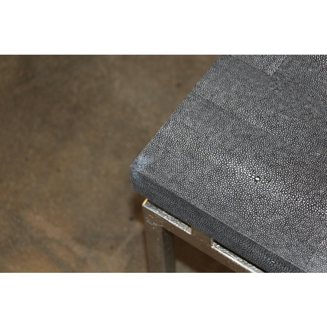 Modern Faux Shagreen and Metal Coffee Table For Sale - Image 3 of 10