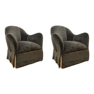 Caracole Modern Charcoal Velvet Skirted Swivel Club Chairs Pair For Sale