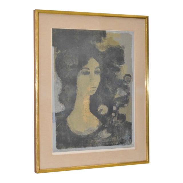 """Andre Mineaux """"Tete de Femme"""" Original Lithograph c.1960s For Sale"""
