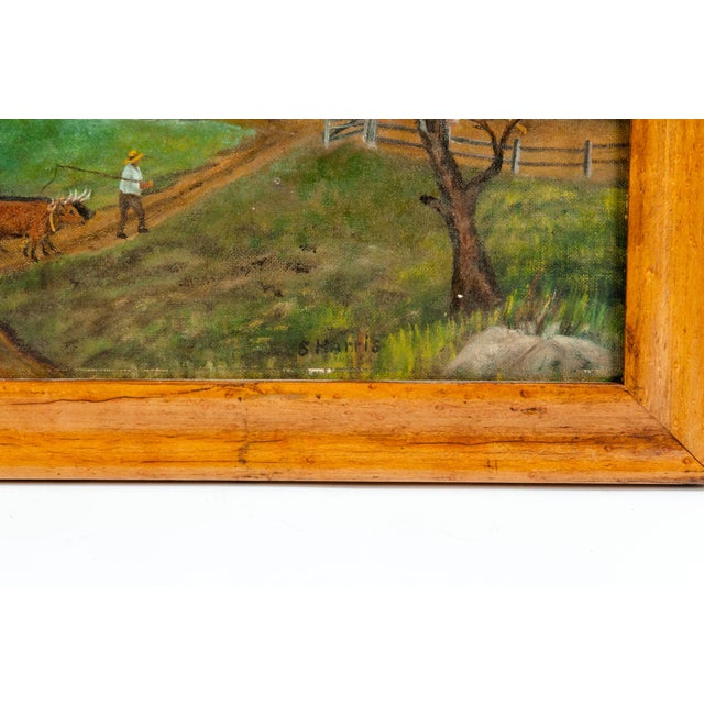 Blue Mid-20th Century Wood Framed Oil / Board Painting For Sale - Image 8 of 10
