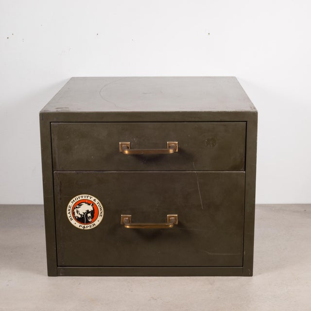 Industrial Factory Two Drawer Cabinet With Brass Pulls C.1940 For Sale - Image 12 of 12