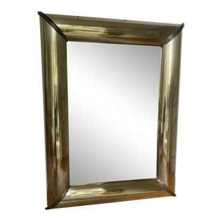 Vintage Large Brass Chunky Mirror in Style of Karl Springer For Sale
