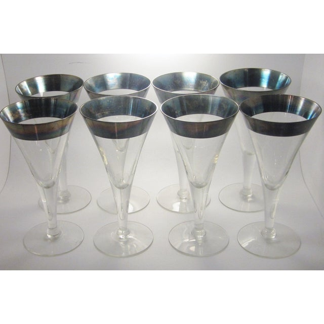 Vintage Mid Century Modern Dorothy Thorpe Style Sterling Silver Rimmed Triangle Fluted Wine Martini Cocktail Stemware - Set of 8 For Sale - Image 10 of 10