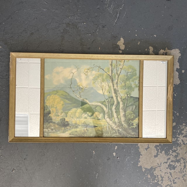Wood Vintage Edwin Hinde Print With Antique Mirror Frame For Sale - Image 7 of 7
