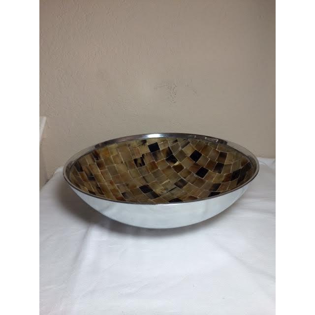 Shell Mosaic & Metal Tabletop Bowl - Image 2 of 5