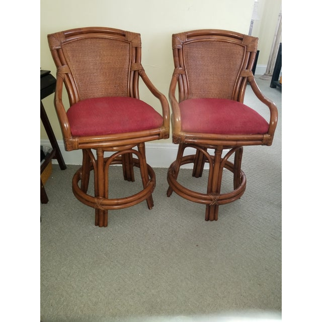 Red Rattan Bamboo Leather Swivel Bar Stools - a Pair For Sale - Image 8 of 13