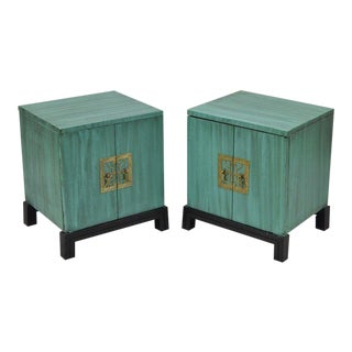 Mid-Century Green Oriental Nightstands - a Pair