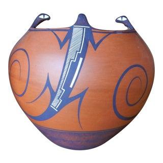 Vintage Native American Zuni Pottery by Anderson and Aurelia Peynestsa For Sale