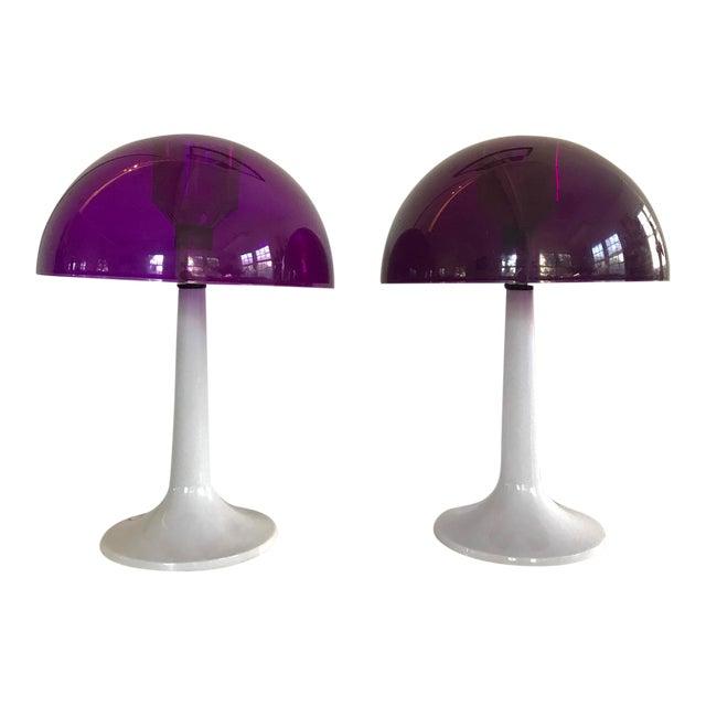Mid-Century Gilbert SoftLite Purple Mushroom Lamps - Pair For Sale