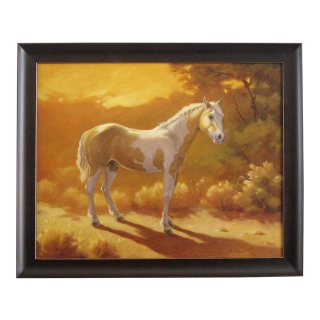"""Ute Simon """"Sunset Over Moon"""" Horse Painting - Image 1 of 6"""