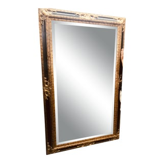 1960s Vintage Regency Black & Gold Frame Mirror For Sale