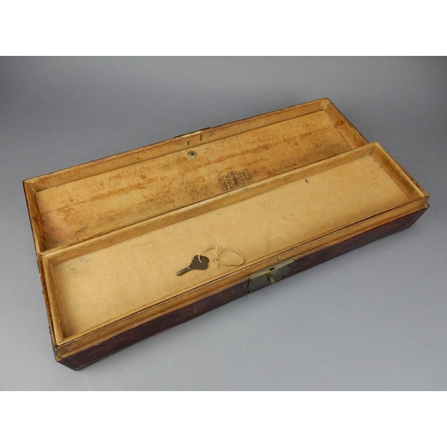 Asian Antique Chinese Pig Skin Scroll Box With Key For Sale - Image 3 of 13