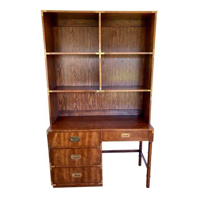 Late 20th Century Dixie Campaign Desk With Hutch For Sale