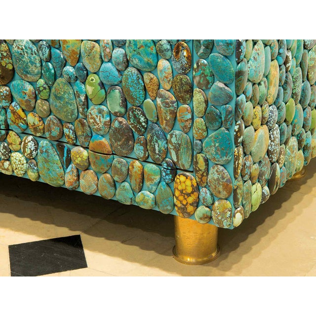 Metal Kam Tin - Turquoise Cabinet With Four Opening Doors, Made of Turquoise Cabochons For Sale - Image 7 of 8