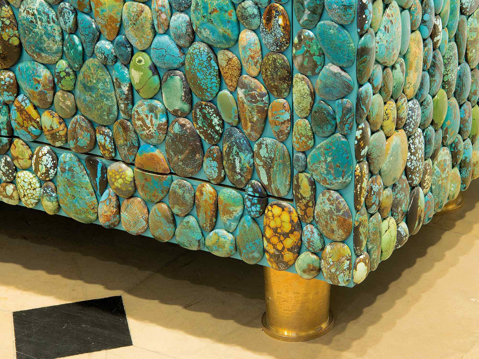 Kam Tin - Turquoise Cabinet With Four Opening Doors Made of Turquoise Cabochons - Image  sc 1 st  Decaso & Sophisticated Kam Tin - Turquoise Cabinet With Four Opening Doors ...