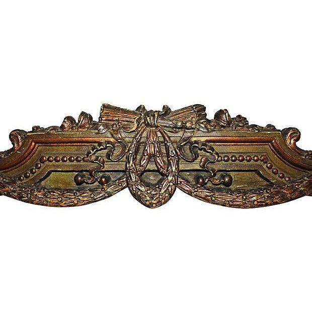 Ornately carved 1920s solid wooden footboard, ready for re-purposing as a sur-la-porte, bed canopy, canopy-du-lit,...