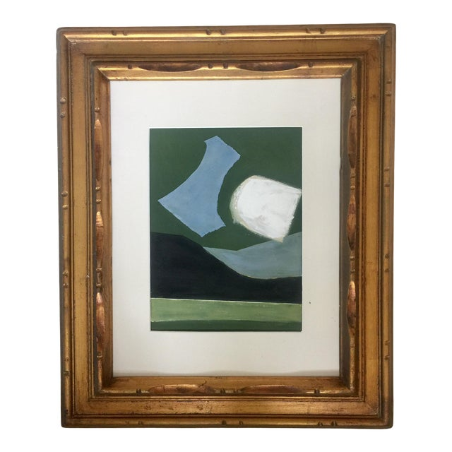 Abstract Painting Collage in Blues and Greens For Sale