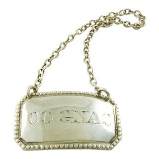 Antique Sterling Silver Wine Label or Bottle Ticket for Cognac Decanter For Sale