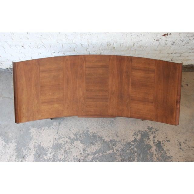 Walnut Excellent Curved Top Walnut Harvey Probber Executive Desk For Sale - Image 7 of 14