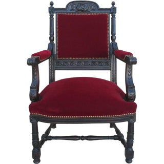 French Antique Carved Armchair For Sale