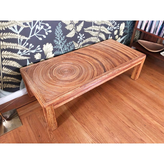 A stunning split reed rectangular coffee table in the style of Gabriella Crespi. Great versatile shape with a sculptural...