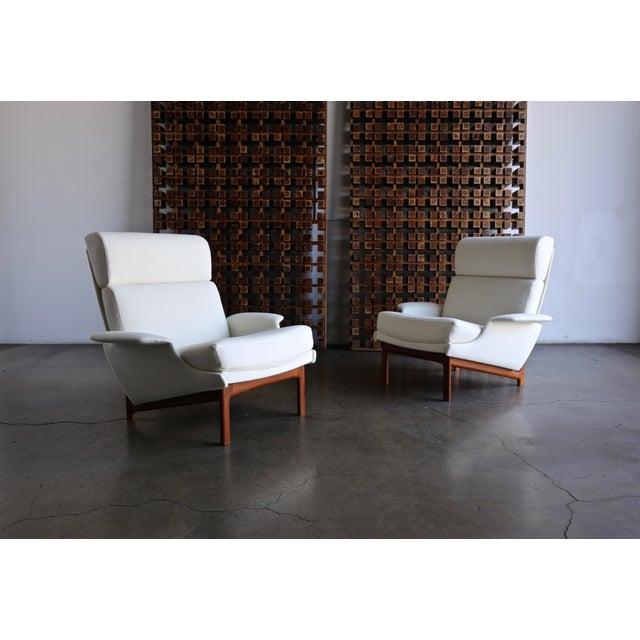 "Ib Kofod-Larsen ""Adam"" Lounge Chairs for Mogens Kold Møbelfabrik circa 1960. New upholstery."