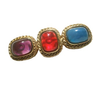 Givenchy Gilt Metal Poured Glass Cabochon Brooch C 1980s For Sale
