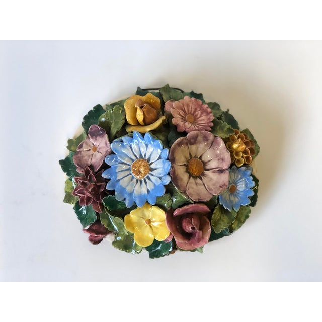 Floral Polychrome Ceramic Capodimonte Sculpture For Sale - Image 13 of 13
