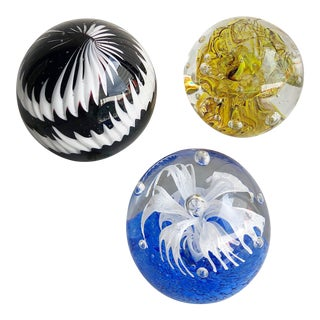 Trio of Glass Sphere Paperweights For Sale