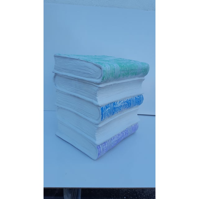 Vintage Faux Stacked Books Plaster Stool/ Side Table - Image 2 of 10