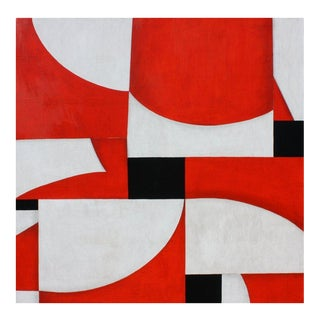 """Contemporary Abstract Red & White Acrylic Painting """"PDP 378ct08"""" by Cecil Touchon For Sale"""