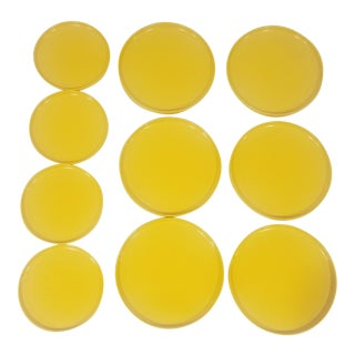Massimo Vignelli for Heller Yellow Servingware - Set of 10 For Sale