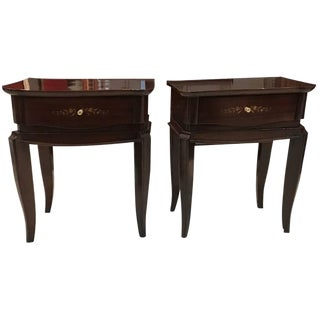 Jules Leleu Style French Art Deco Mother-of-Pearl Nightstands - A Pair For Sale