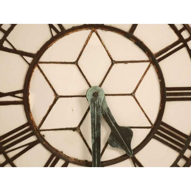 Metal Cast Iron English Clock Face with Copper Hands, circa 1860 For Sale - Image 7 of 11