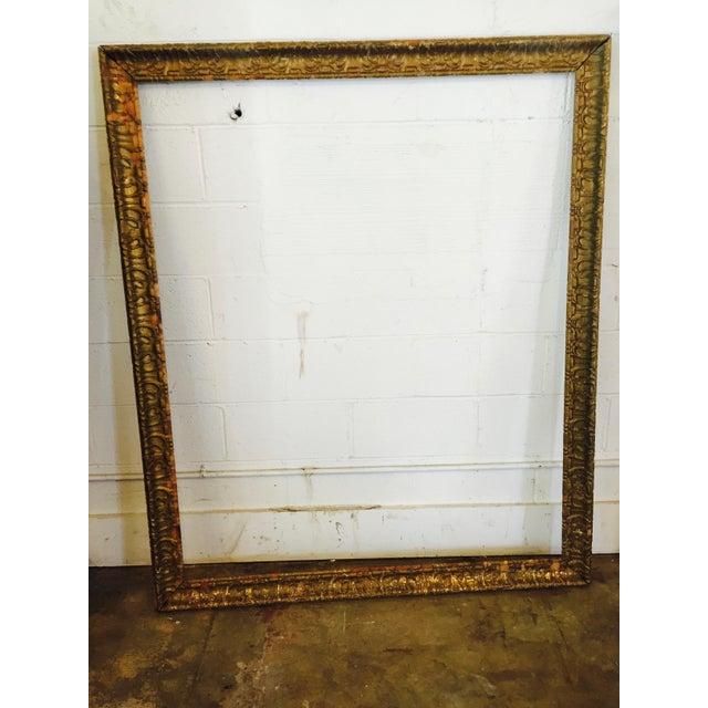 Over-Sized Large Vintage Gold Tone Carved Wood & Gesso Frame - Image 2 of 10