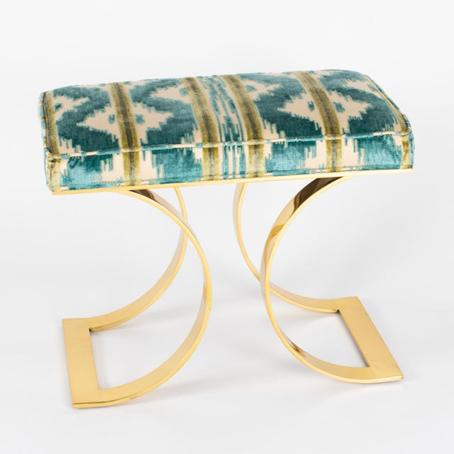 "Karl Springer ""J M F Curved Bench"" in Brass For Sale In New York - Image 6 of 13"