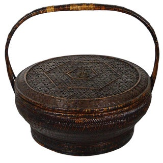 Antique Handwoven and Painted Bamboo and Rattan Basket from 19th Century, China