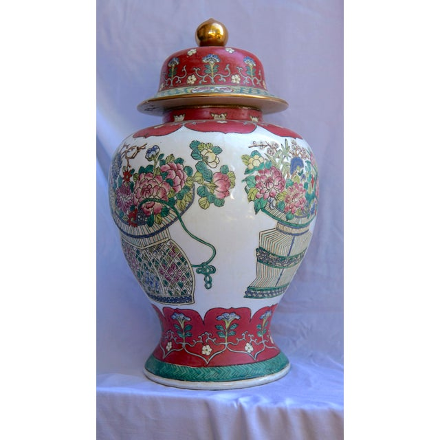 Vintage Fuchsia, White & Green Ginger Jar Vase With Lid For Sale - Image 9 of 12