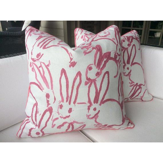 Pink Lee Jofa Hunt Slonen Bunny Hutch Pillows - A Pair For Sale - Image 5 of 5