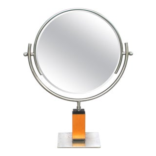 1930s Art Deco Steel Dressing Mirror Raised on a Maplewood Base For Sale