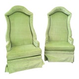 Image of 1970s Hollywood Regency Hooded Lime Green High Back Upholstered Chairs - a Pair For Sale