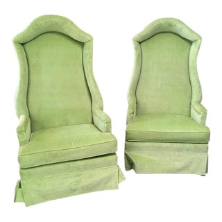 1970s Hollywood Regency Hooded Lime Green High Back Upholstered Chairs - a Pair For Sale